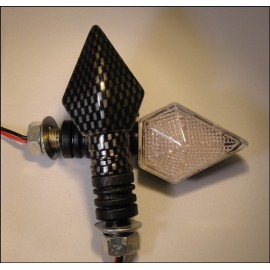 LED knipperlichten 35mm arm speer vorm carbon look (per paar)