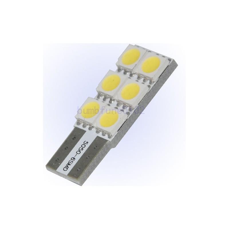 Witte Canbus T10 Dashboard Led Lampjes 4 Smd Leds Per Lampje Zijklant